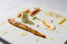 Smoked trout, avocado cream, cottage cheese pate, lemon-honey-olive oil combination.