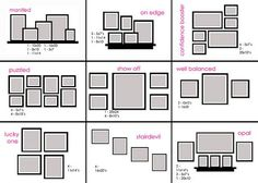 Life-saving cheat sheet on how to arrange frames on the wall to… | Spark | eHow.com