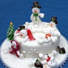 Mini snow man cake