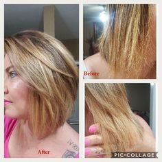 I purchased the Balance system and a week later bleached my hair. Nervous about the results because of the detox phase and now bleach I was scared to say the least! HOWEVER, I was so impressed I went from VIP to MP!!! (took all my Monat products to my appointment for stylist to use) and the after pic is from a week after bleaching with rejuvabeads added to the mix that time!!! I'm definitely a Monat believer!!