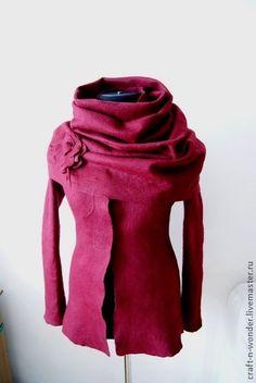 """Пиджаки, жакеты ручной работы. Ярмарка Мастеров - ручная работа Жакет валяный и снуд """"Bordeaux"""". Handmade."""