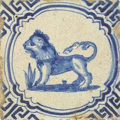 lion on tile 17th century