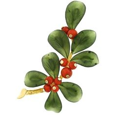Preowned Holly And Berries Jade Coral And Gold Brooch ($3,500) ❤ liked on Polyvore featuring jewelry, brooches, red, gold leaf brooch, red coral jewelry, gold jewelry, coral brooch and red gold jewelry