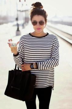 Striped Long sleeve top and simple Accessories - sunglasses and Bag - Hair Inspiration