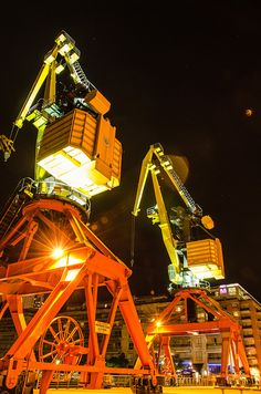 Nice picture of harbour cranes
