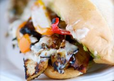 Philly cheese tofu sandwiches. It takes a little time in preparing them, but they are well worth the effort.</p>