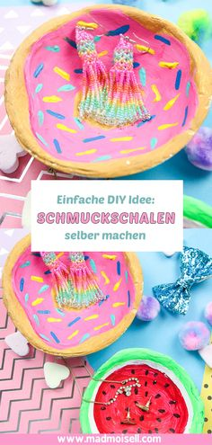 Make DIY jewelry bowls yourself from modeling clay - donut & watermelon - Madmoisell DIY Projekte⎪ Basteln & Selbermachen Diy Donut, Diy Blog, Tumblr, Homemade Gifts, Apple Cider, Diy Jewelry, Watermelon, Diy And Crafts, Easy Diy