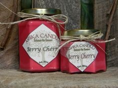 $12.50 Large BERRY CHERRY Soy Candles 12oz hexagon jars  by AshkaCandles