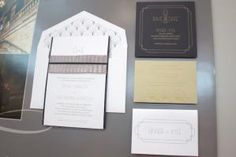 Another hot trend was Gatsby-inspired design aesthetics, like the fan-patterned envelope liner seen in the vintage-looking suite from Checkerboard. Event Invitation Design, Event Invitations, Invitation Ideas, Envelope Liners, Wedding Stationary, Gatsby, Design Trends, Aesthetics, Stationery