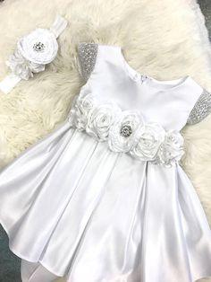 Flower Girl Dress Baby Girl Dress white satin baby dress
