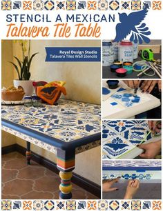 how to stencil a mexican talavera tile table, diy, how to, painted furniture, painting, tile flooring