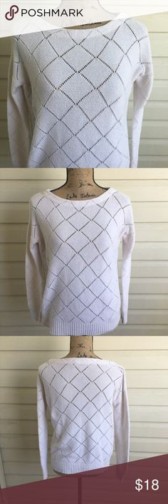 LOFT White Knit Sweater In excellent condition! Loose fitting for a cozy style. Size small. I'm a speedy shipper and we have a smoke free home! Measurements upon request. I'm always open to reasonable offers. Sweaters
