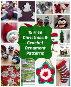 15 free Christmas and crochet ornament patterns.