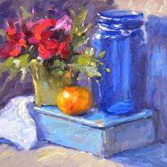Blue and Tangerine, oil, ©Diane Mannion