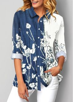 Tops For Women Floral Print Button Up Turndown Collar Blouse Floral Print Shirt, Printed Blouse, Stylish Tops For Women, Collar Blouse, Blouse Styles, Pretty Outfits, Blouses For Women, Women's Blouses, Flare