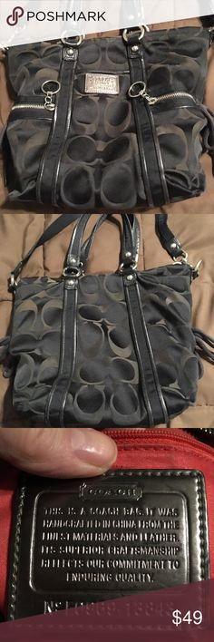Coach embossed bag with side ties Coach embossed bag with side ties. Measurements are pictured. Bag is used so interior is somewhat dirty and there are some marks on the bag exterior which are pictured   Zipper closure. Black with brown C's Coach Bags Shoulder Bags
