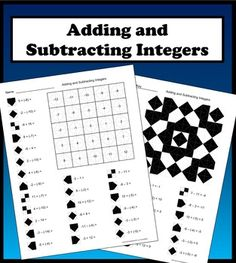 Adding and Subtracting Integers Color Worksheet.  25 well thought out problems that will strengthen and reinforce student learning.  Each problem has a unique solution between -12 and 12 that corresponds to a coloring pattern that will form a symmetrical image.