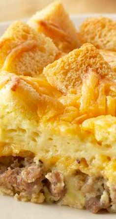 Country Breakfast Casserole ~ This tasty, golden brown casserole can be ready in less than one hour or you can make it the night before, chill and bake it in the morning... Choose lower fat cheese, milk and sausage for a lighter, yet still tasty version