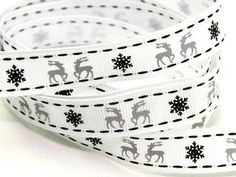 Black, White & Grey Reindeer Print Wired Ribbon for Christmas Crafts - 20 metre roll Preview