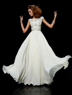 A-line/Princess High Neck Short Sleeves Chiffon Floor-length Beading Dress - Prom Dresses