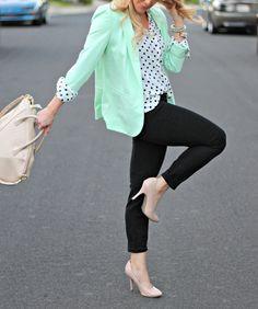 mint green blazer and polka dot blouse!