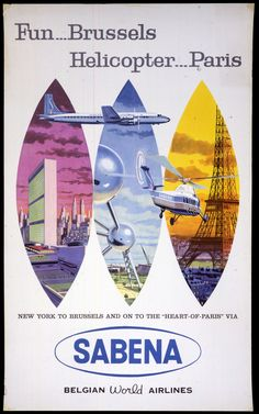 1957 Sabena Belgian World Airlines Fun...Brussels Helicopter...Paris