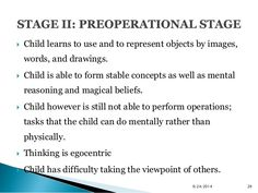  Child learns to use and to represent objects by images,  words, and drawings.   Child is able to form stable concepts a...