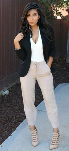 Casual Chic || Nude pants with white top and a black jacket , good colour combination