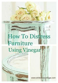 DIY Shabby Chic Distressed Furniture Tutorial | Distress Furniture Using Vinegar by DIY Ready at http://diyready.com/12-diy-shabby-chic-furniture-ideas/