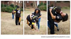 Chris+Leah's Saints and Steelers Football Engagement Session :: Fourth Ward Park in Charlotte, NC :: Photo by Glessner Photography @NFL Official