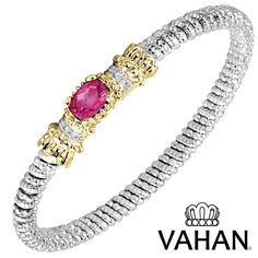 4 mm bracelet made of 14k gold, sterling silver, pink topaz and diamonds. Style # 22545DPZ04 #VAHAN #VahanStyle #Bracelet #Gold #Silver #Diamonds #Pink #Gems