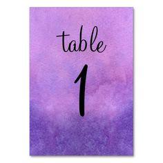 Purple Watercolor Table Card