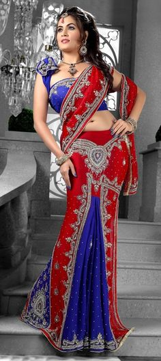 83003, Lehngas Style Sarees, Faux Georgette, Moti, Stone, Sequence, Cut Dana, Resham, Blue, Red and Maroon Color Family