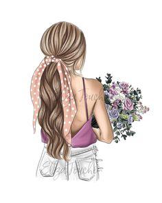 Girl Cartoon, Cartoon Art, Illustration Mode, Illustration Fashion, Illustrations, Smal Tattoo, Girly M, Fashion Artwork, Cute Girl Drawing