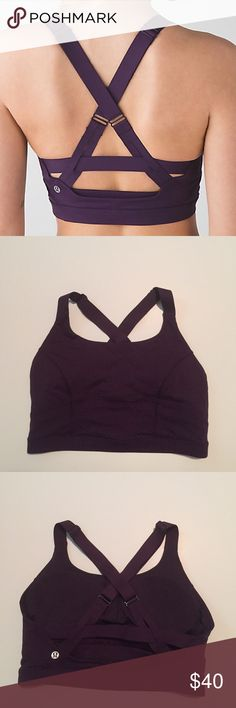 Lululemon Pure Practice Bra Lululemon Pure Practice Bra, dark purple color, size 8, excellent condition with no flaws, removable pads are included. High coverage bra, adjustable bonded straps for smooth comfort, medium support for C/D cup, long line design. Luxtreme fabric is cool to the touch and fits like a second skin for support and smooth low friction performance. Bundle to save 10% off ❤️ lululemon athletica Intimates & Sleepwear Bras