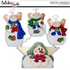 This pack consists of 4 hand-painted snow angels, perfect to add whimsy and charm to your digital scrapbooking kits or projects.  #SnowAngels #SnickerdoodleDesigns  https://snickerdoodledesignsbykaren.com/shop/index.php?main_page=product_info&cPath=61&products_id=1601