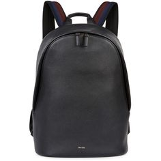 Paul Smith Black leather backpack ($480) ❤ liked on Polyvore featuring men's fashion, men's bags, men's backpacks and mens leather backpack