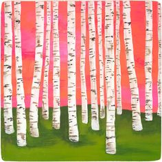 """""""Birch Forest"""" ~ painting by illustrator & fine artist Lisa Congdon Lisa Congdon, Birch Forest, Birch Trees, Pink Forest, Aspen Trees, Forest Art, Magical Forest, Birch Bark, Forest Painting"""