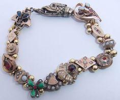 RARE Antique Victorian Gold Filled Enamel Pearl Garnet Opal Slide Bracelet   eBay