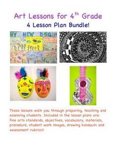 Art lessons for 4th grade, four lesson plan bundle