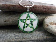Pagan Jewelry  Green Pentacle Pendant  Wiccan by SolasJewelry, $9.95