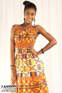 Kente Print Cloth African Wear Maxi Dress | FashionGHANA.com (100% African Fashion)
