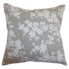 "Pillow with a floral motif. Made in the USA.  Product: PillowConstruction Material: CottonColor: Gray and whiteFeatures: Insert includedDimensions: 18"" x 18"""