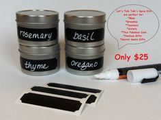 Great Christmas Gift!    Organization Starter Kit:  4 Spice Jars 4oz each   8 Vinyl Chalkboard Labels (4 ticket shape & 4 Circle shape for lid labelling)  1 Waterproof Chalk Marker    Get yours today!