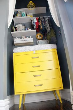 Yellow Vintage Dresser Turned Changing Table - love the idea of putting it in the closet to save space!