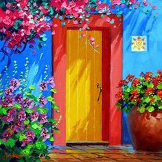 Mediterranean landscape - DIY Diamond Painting Pasting Area: Full Coverage Diamond Shape: Square What's in the Package: Canvas with sticky adhesive surface All the diamonds (square) needed for t Wolf Canvas, Canvas Art, Acrylic Canvas, Canvas Ideas, Mexican Colors, Art Texture, Diamond Paint, House Painting, Dream Painting
