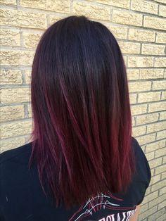 Purple Burgundy Hair Color, Maroon Hair Colors, Ombre Hair Color, Cool Hair Color, Color Red, Maroon Color, Burgundy Highlights, Dark Hair With Burgundy, Dark Maroon Hair