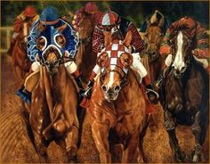 Horse Racing Equine Art Equestrian Sports Oil Portrait Painting - POWER in the BLOOD