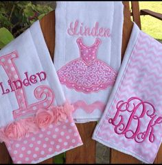 Personalized baby girl burp cloths by sassyjunebugdesigns on etsy pretty in pink cloth gift set baby burp cloths pink and gray baby girl burp cloth set baby gift butp cloth pink and gray gift negle Images