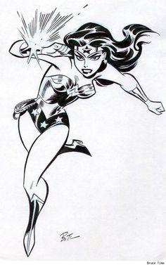 Wonder Woman B&W pencil & inkt by Bruce Timm Comic Book Artists, Comic Book Characters, Comic Character, Comic Books Art, Comic Art, Bruce Timm, Super Heroine, Univers Dc, Drawn Art